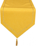Xia Home Fashions Melrose Easy Care Cutwork Hemstitch 38.1cm by 228.6cm Table Runner, Gold