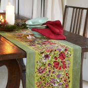 Couleur Nature 40.6cm by 182.9cm Jardine Table Runner, Red/Green