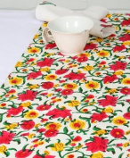 Grehom Table Runner - Blossom; Beautiful Wedding Gift; 100% Cotton Table Runner; Hand Printed Table Linen; Size 180cm x 35cm