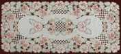 Embroidered Rose Daisy Floral Cutwork Table Runner 38.1cm x 86.4cm Ivory