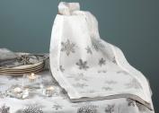 Holiday Burnout Voile Evening Snowflake Design White Table Runner - 40.6cm x182.9cm Oblong - New