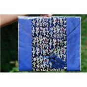 Chinese Calligraphy Silk Table Runner - Blue