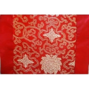 Fortune Flower Silk Table Runner - Red