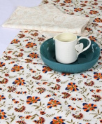 Grehom Table Runner - Carnations; Beautiful Wedding Gift; 100% Cotton Table Runner; Hand Printed Table Linen; Size 180cm x 35cm