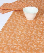 Grehom Table Runner - Mehendi Creepers; Beautiful Wedding Gift; 100% Cotton Table Runner; Hand Printed Table Linen; Size 180cm x 35cm