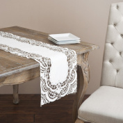Lafayette Embroidered and Cutwork Elegant Table Runner, Ivory Colour, 40.6cm x91.4cm Rectangular