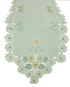Xia Home Fashions Emerald Daisy Embroidered Collection Cutwork Table Runner, 38.1cm by 137.2cm