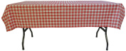 Phoenix Cafe Cheque Vinyl Tablecloth, 132.1cm by 228.6cm ,Red and White
