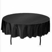 LinenTablecloth 180cm Round Satin Tablecloth Black