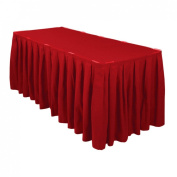 4.3m Accordion Pleat Polyester Table Skirt Red