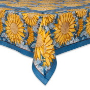Couleur Nature Sunflower Tablecloth, 149.9cm by 149.9cm , Yellow/Blue