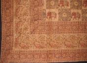 Block Print on Batik Tablecloth-Brown-152.4cm x 228.6cm