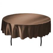 LinenTablecloth 180cm Round Satin Tablecloth Chocolate