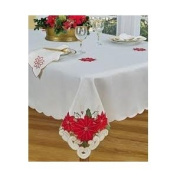 Poinsettia Trio 152.4cm x 304.8cm Christmas Tablecloth