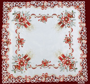 Holiday Christmas Embroidered Poinsettia Candle Bell Tablecloth 86.4cm Square White