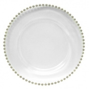 ChargeIt! by Jay Turkish Glass Silver Beaded Charger Plate, Set of 4