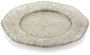 IVV Glassware Diamante 34.3cm Round Charger, Beige Chrome Decoration