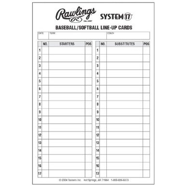 494ec05fbaf7 Rawlings System 17 Baseball/Softball Lineup Cards by Rawlings - Shop ...
