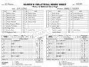 Glovers Scorebooks Volleyball Short form Scorebook