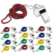 12pc Sports Pea Whistles with Neck Cord Lanyard - Coaches, Referee