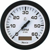 Faria Euro White 10cm Tachometer w/Hourmeter - 6,000 RPM