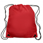 Nylon Sports Drawstring Backpack Bag Durable, Lightweight, Red