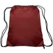 Burgundy Drawstring Cinch Sack Backpack School Tote Gym Sports Beach Travel Bag