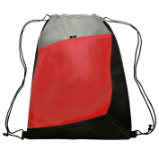 Three Tone Sports Drawstring Backpack Bag Durable, Lightweight, Red