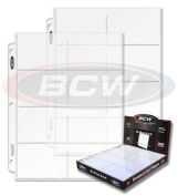 Box of 100 PREMIUM PAGES BCW Pro 8-pocket Pages - Eight Pockets Page (8 Top Load / Horizontal Slots) Made in USA