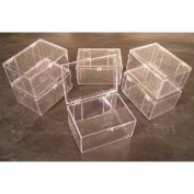 Lot of 6 Crystal Clear Hinged Plastic Trading Card Storage Boxes (100-ct) - Made in the U.S.A.