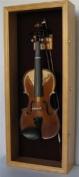 Violin Box Music Viola Display Case Cabinet Wall Rack Holder - OAK Finish