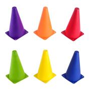 Set of 6 - 22.9cm Sport Cones in Vivid Coloured Vinyl by Crown Sporting Goods