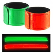 2pc Super-Reflective Snap Bracelets Pant Cuff - Auto Roll-Up