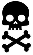 Black Skull and Cross Bone Bicycle Reflector Reflective Sticker Decal