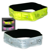 2pc LED Reflective Arm Bands Leg Cuffs - 4 LED High Visibility - White/Yellow