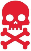 Red Skull and Cross Bone Bicycle Reflector Reflective Sticker Decal