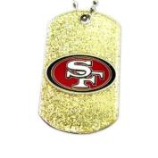 San Francisco 49ers Dog Fan Tag Necklace Glitter Sparkle NFL