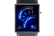 Black LED Sports Watch Unisex Faux Leather Band Blue Backlit Fan Dial - BLUFAN