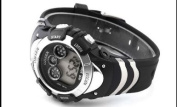 OHSEN Mens Silver Date Day Alarm Multifunction 7 Modes Backlights Sport Rubber Watch