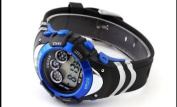 OHSEN OHSEN Mens Blue Date Alarm 7 Modes Backlights Multifunction Sport Rubber Watch