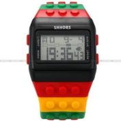 SHHORS Candy Rubber Digital Stopwatch Waterproof Men's Ladies Sport Watch