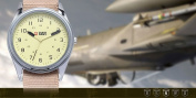 SHARK ARMY Beige Dial Mens Khaki Nylon Military Sport Quartz Wrist Watch
