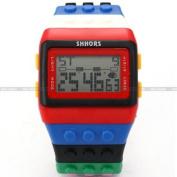 SHHORS Rainbow Building Blocks Digital LED Light Ladies Men's Waterproof Sport Watch