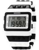 SHHORS White Black Waterproof Block Quartz Digital LED Stopwatch Sport Rubber Watch