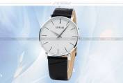 White Big Dial Mens Lady Women Unisex Leather Quartz Sport Wrist Watch Gift