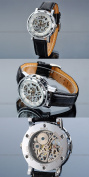 AMPM24 Hot Mechanical Analogue Skeleton White Dial Mens Sport Leather Wrist Watch Gift