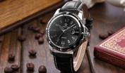 Orkina Fashion Mens Black Dial Leather Date Sport Quartz Wrist Watch Gift