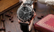 Orkina Luxury Mens Black Dial Leather Date Sport Quartz Wrist Watch Gift