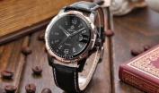Orkina Mens Black Dial Rose Gold Case Leather Date Sport Quartz Wrist Watch Gift