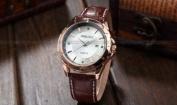 Orkina Mens Golden White Dial Date Leather Sport Quartz Wrist Watch Gift